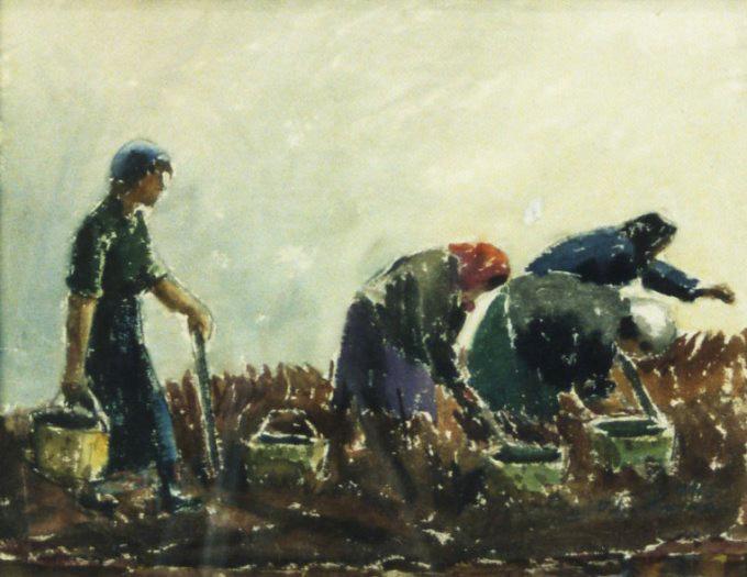 Maalaus, jossa naiset nostavat perunoita maasta